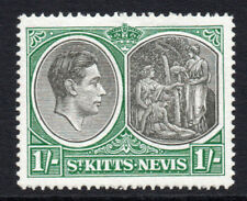 St Kitts Nevis 1/- Stamp c1938-50 Mounted Mint Hinged (2901)