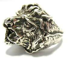 STERLING SILVER LIONS HEAD RING BAND SIZE 6.5   15.8 GRAMS