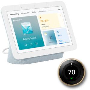Google Nest Hub Display w/ Google Asst, Mist (2nd Gen) + Learning Thermostat
