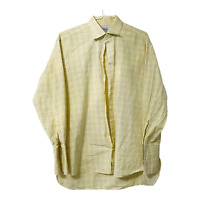 Charles Tyrwhitt Mens XL Yellow Blue Stripe Button Down Long Sleeve Casual Shirt