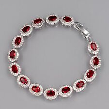 7 In White Gold GP Oval Cut Red Ruby Cubic Zirconia CZ Tennis Bracelet 00670-2