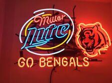 """New Cincinnati Bengals Go Bengals Miller Lite Beer Bar Neon Light Sign 24""""x20"""""""