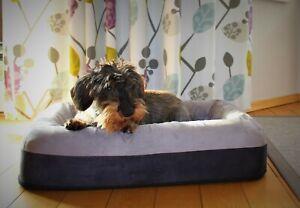 Hundebett Visco Orthopädisch Hundeliege Memory Foam, grau,  68 x 38 x 14 cm
