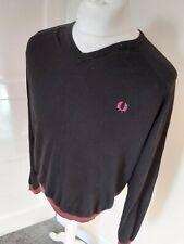 Fred Perry Merino Wool Jumper Sweater Sweatshirt Black Red Xl 48 Chest Vvgc