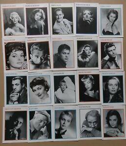60 unsignierte Starporträts-Karten Enzyklopädie des Films