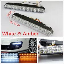 A Pair 30LED Super Bright Car Daytime Fog Lights Turn Signal Lamps White & Amber