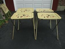 Set of Four 4 Vintage Metal TV Trays w/ Rolling Stand Western Cowboy RARE EVC