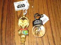 Star Wars Ornament Set- Lot of 2 C3-PO Ornaments- Hallmark and Mini Snow Globe