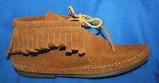 NEW!~Minnetonka~Womens~Moccasins~Leather~Lace up~Ankle Boots~Fringe~Shoes Sz 9