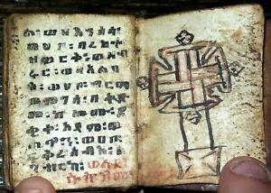 Miniature ETHIOPIAN Coptic BIBLE Manuscript ANTIQUE Handwritten GE'EZ Vellum