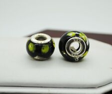 STERLING SILVER BLACK W/GREEN DOTTED DESIGNS BEAD/PENDANT#FMD793