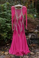 $1500 Smooth (Waltz Tango Swing Foxtrot) Ballroom Dance Gown 2-Tone Pink Jeweled