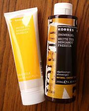Korres WHITE TEA BERGAMOT FREESIA Natural Shower Gel 250ml & Body Milk 125ml