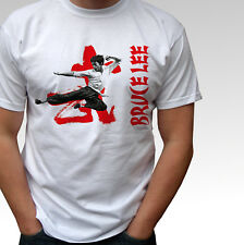 Bruce Lee JUMP KICK white t shirt top - mens and kids sizes