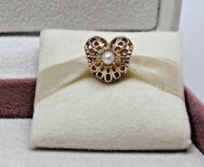 New Pandora Vintage Heart Pearl & 14Kt Gold Charm 750822P G585 HINGE BOX