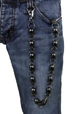 Men Black Metal Long Wallet Chains Skull Biker Jeans Rock Fashion Trucker Strong