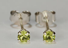 BEENJEWELED PETITE GENUINE NATURAL MINED PERIDOT EARRINGS~STERLING SILVER~3MM
