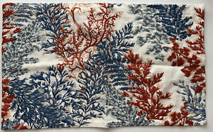 """New Pottery Barn CORAL Ocean EMBROIDERED LUMBAR PILLOW COVER 16 x 26"""" Blue"""