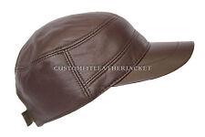 Nuevo Unisex Marrón Chocolate Castro Casquillo Alta Calidad Genuino Cuero Boina Sombrero