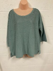 French Connection Ladies Womens Blue Top Jumper Pullover Size L Large 3/4 Sleeve