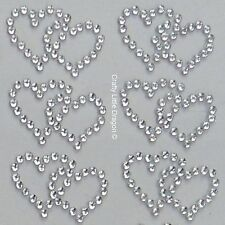 20 x Double Hearts Clear Rhinestone Diamante Stick on Self Adhesive GEMS Wedding