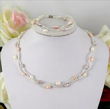 Zucht Perlen Ketten,echte Süßwasserperlen-Halskette+Armband 1 Set Weiß,Lila,Rosa