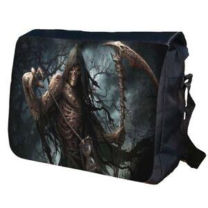 Reaper Skull Gothic Travel School Bag College Shoulder Messenger Bag