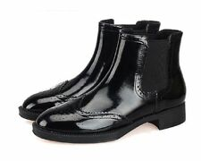 Low (3/4 in. to 1 1/2 in.) Leather Slip On Solid Boots for Women