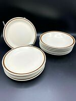 Woodhaven Collection Salad Plate Soup Bowls Sandusky Stoneware Japan Set of 12