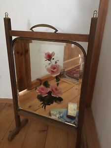 ART DECO Style Vintage FIRE SCREEN bevelled edge mirror With painted Roses