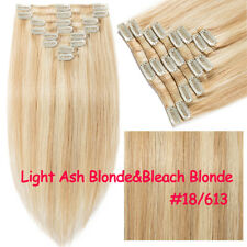 "New Full Head Clip In Remy Human Hair Extensions 7/8pcs 16""-22"" White Blonde MY"