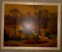 "Harvey Leith-Ross picture print framed woman dog farmhouse fall colors 30"" x 24"""