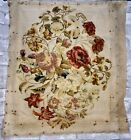 Antique Victorian Berlin Woolwork Needlepoint Plush Work Embroidery of Flowers