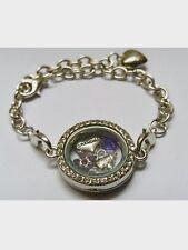 GRANDMA Nan Love Heart FLOWER Purple Tea Pot Floating Locket Charm Bracelet GIFT