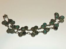 VTG TAXCO 980 SILVER MIXED INLAID STONE SMALL SIZE LINK BRACELET MEXICO 30 GRAMS