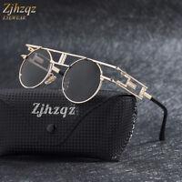 ZJHZQZ Vintage Polarized Steampunk Sunglasses Fashion Round Mirrored Retro Lens