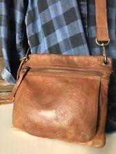 FOSSIL SASHA British Tan Embossed Leather Crossbody Messenger Bag Purse