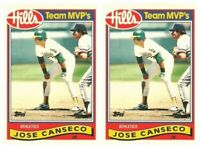 (2) 1989 Topps Hills Team MVP's Baseball #5 Jose Canseco Card Lot Athletics