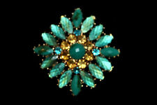 Vintage LC Liz Claiborne Green Cabochon Rhinestone Gold Tone Pin Brooch