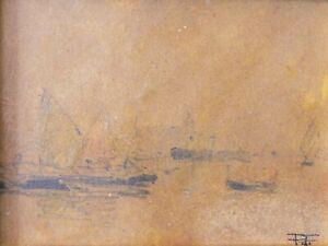 Pietro FRAGIACOMO (Trieste 1856 - Venezia 1922) LAGUNA di VENEZIA su cartoncino