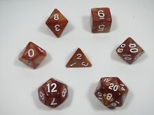 RPG Dice Set of 7 - Pearl Brown (white ink) D4 D6 D8 D10 D12 D20 D00-90