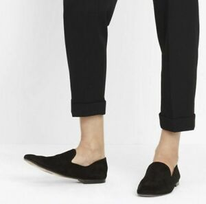 NIB Vince Bray Suede Leather Flat Loafer Smoking Slipper, Black Size 7.5, 8 $275