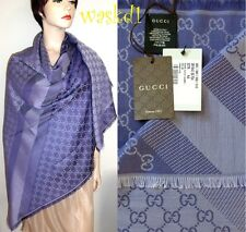 "GUCCI wool/silk Lilac & Purple Monogram Giant 55"" scarf PASHMINA shawl NWT Auth"