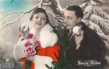 BK596 Carte Photo vintage card RPPC Couple mode fashion neige costume Noel