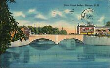 Nashua Nh Calle Principal Puente Tarjeta Postal c1950s