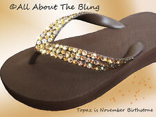 Crystal Havaianas brown flip flops or Wedge with SWAROVSKI CRYSTALS Topaz & Silk