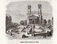 75 PARIS EGLISE SAINT VINCENT DE PAUL PETITE IMAGE 1877 PRINT