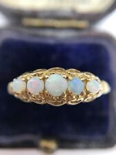 Antique Yellow Gold Opal Large 5 Stone Ring Unusual Half Hoop Band Ornate Hearts