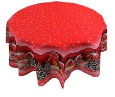 Tovaglia Rotonda Natalizia cm 160 NATALE rosso in cotone