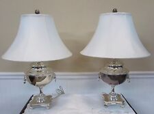 RALPH LAUREN POLISHED SILVER SAMOVAR LAMPS, TABLE LAMP PAIR, Orig $1800 each